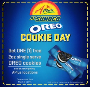 APlus Sunoco: FREE Oreo Cookies – March 5-7