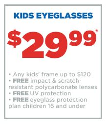 JCP Optical: $30 Kids' Glasses through September 15, 2014